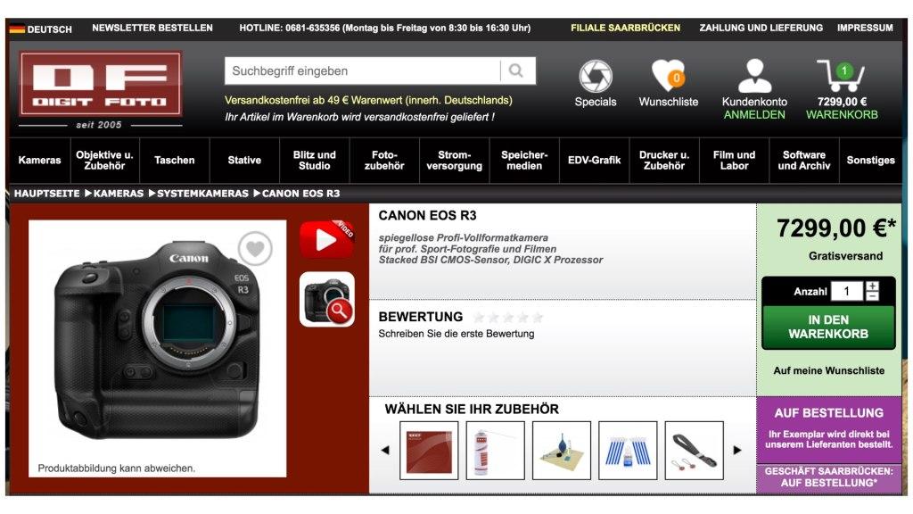Prix Canon EOS R3.  Image: Digitfoto