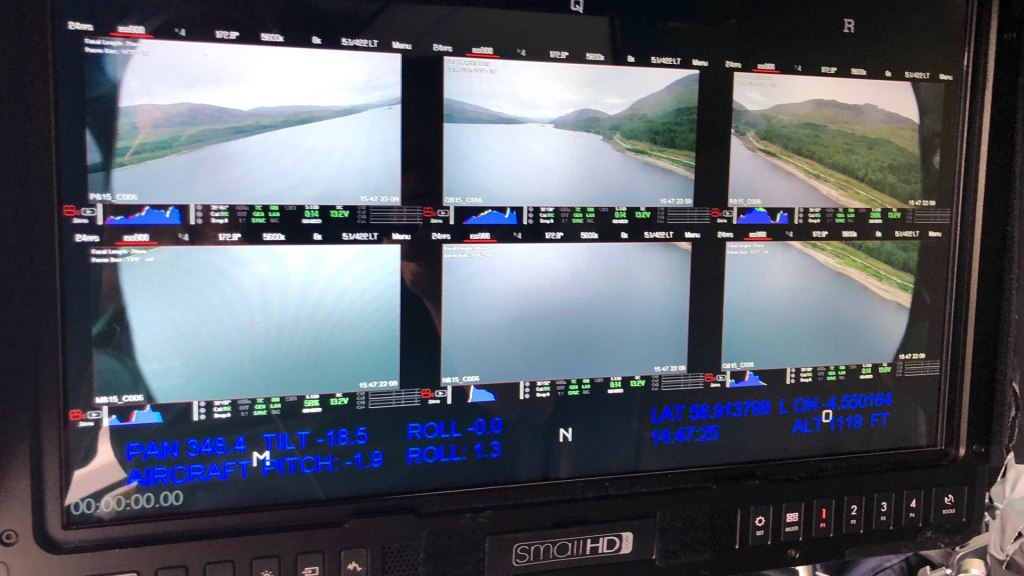 Écran de la baie HFS Typhon 2.  Image - aérien, dp, Jeremy Braben, Assoc.  BSC, Hélicoptère Film Services