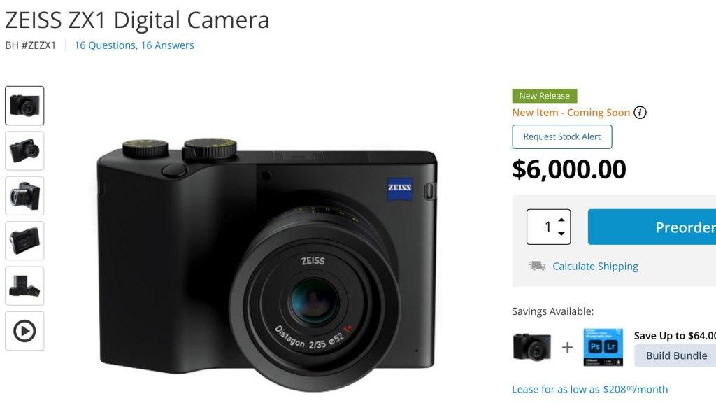 L'appareil photo numérique ZEISS ZX1 sur B&H