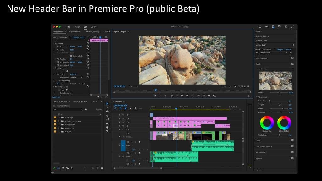 Nouvelle barre d'en-tête dans Premiere Pro (version bêta publique)