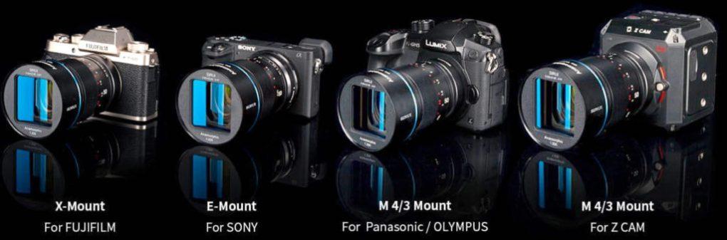 Compatibilité des montures SIRUI 50mm f/1.8 Anamorphic 1.33x