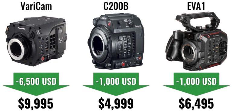 Les baisses de prix les plus importantes des caméras de cinéma de 2019 : Canon C200, Panasonic VariCam LT et EVA1