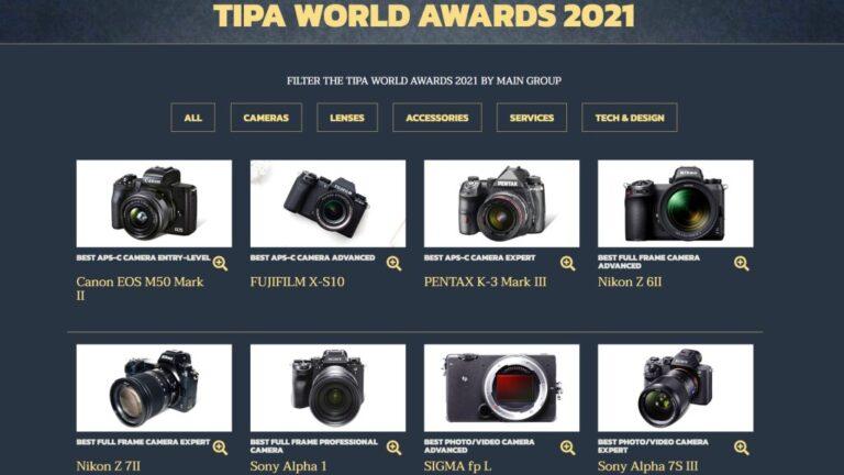 Voici les caméras qui ont remporté les TIPA World Awards 2021