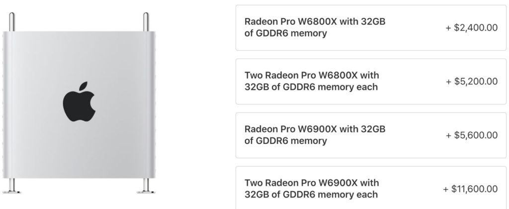 Les nouvelles options : les GPU AMD Radeon Pro